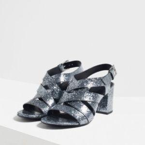 Zara Grey Sparkly Heels 7.5/ 38 NIB